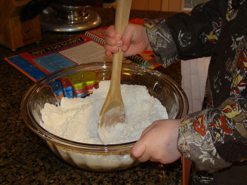 Jack stirring dry ingredients